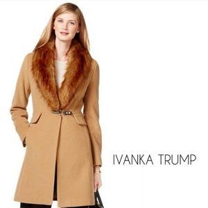 Ivanka Trump camel faux fur trim wool coat plus 1X
